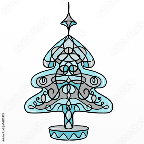 Foto op Canvas Vogels in kooien Christmas tree decorated