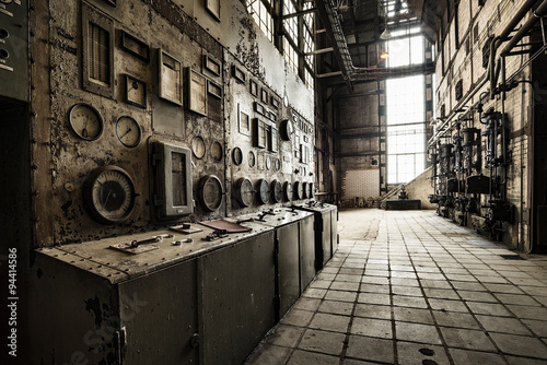 Photo Stands Old abandoned buildings control unit