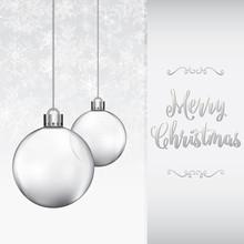 Silver Baubles Christmas Card Design