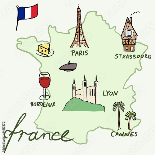 France map Wallpaper Mural