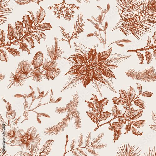 Stoffe zum Nähen Vintage Musterdesign Vektor. Botanische Weihnachten Hintergrund.