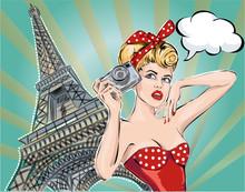 Pop Art Illustration Fashion Woman Near Eiffel Tower Takes Pictures