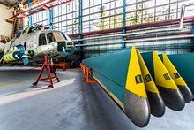 Helicopter Rotor Blades Removed From Aircraft