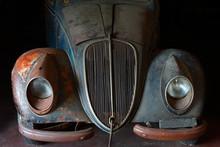 Front Of Abandoned Old Vintage Car