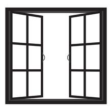 Windows-half Open Window Vector