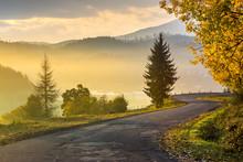 Mountain Road To Village In Mountains