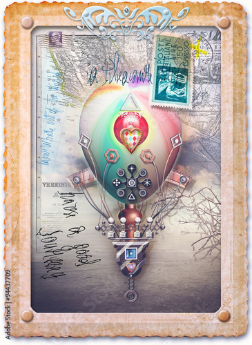 Old fashioned collage and postcard with hot air ballon and scrap © Rosario Rizzo