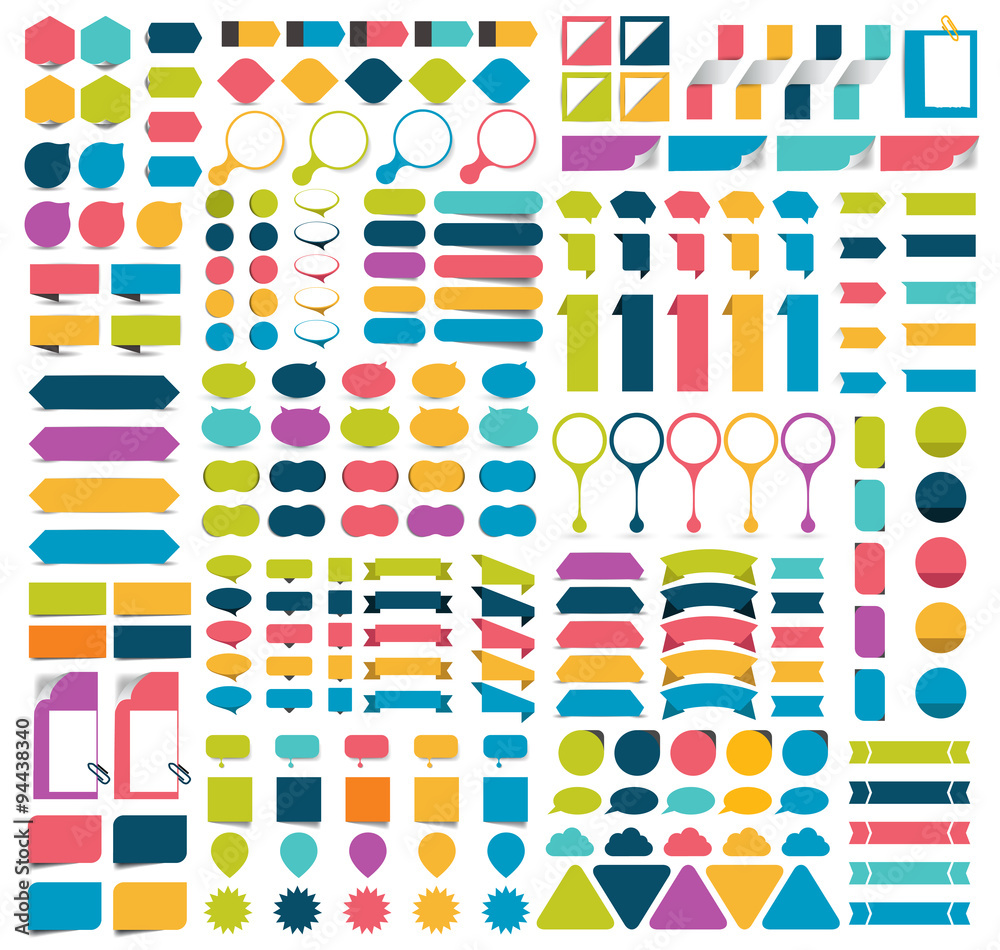 Fototapety, obrazy: Mega collections of infographics flat design elements, buttons, stickers, note papers, pointers.  Vector illustration.