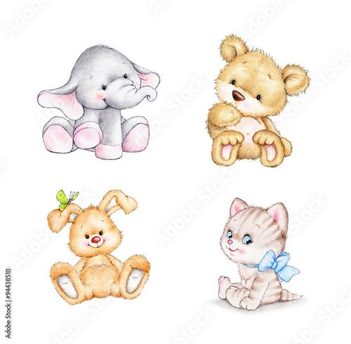 zestaw-czterech-zwierzat-slon-krolik-niedzwiedz-kot-na-bialym-tle