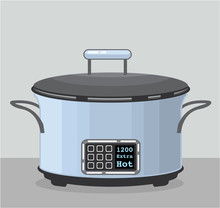 Slow Cooking Crock Pot Vector