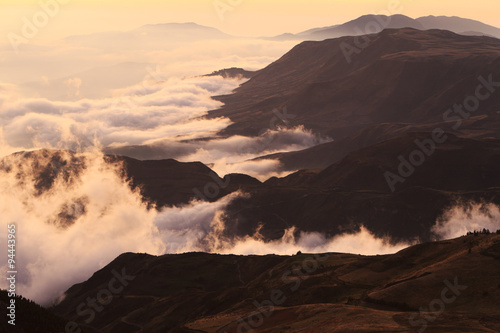 Photo Stands Eggplant Sunset Over The Andes Mountains Range