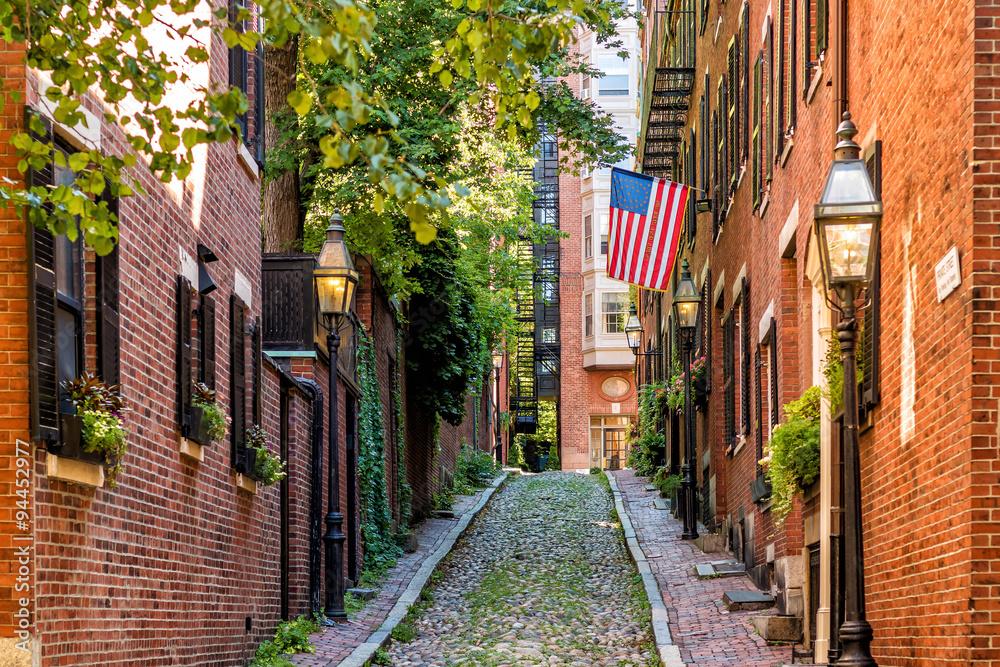 Fototapety, obrazy: View of historic Acorn Street in Boston