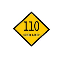 Speed Limit 110 Black Stamp Text On Background Yellow