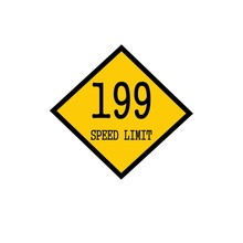 Speed Limit 199 Black Stamp Text On Background Yellow