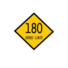 Speed Limit 180 Black Stamp Text On Background Yellow