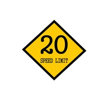 Speed Limit 20 Black Stamp Text On Background Yellow