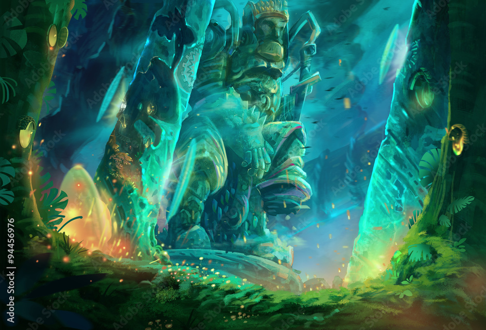 Fototapeta Illustration: A cave full of mysterious and forbidden aura. It must be a tomb of an ancient king. Removed the characters. Fantastic / Realistic / Cartoon Style, Wallpaper / Background / Scene Design.