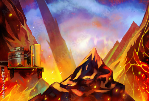 Illustration: The Burning Energy Stock hidden in the Mountain Tablou Canvas