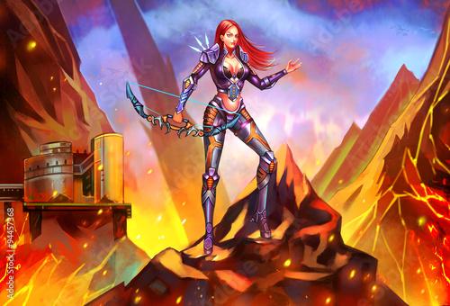 Illustration: Light Hunter - The Captain of Task Forces - just destroyed the energy depot hidden in the mountain Fototapet