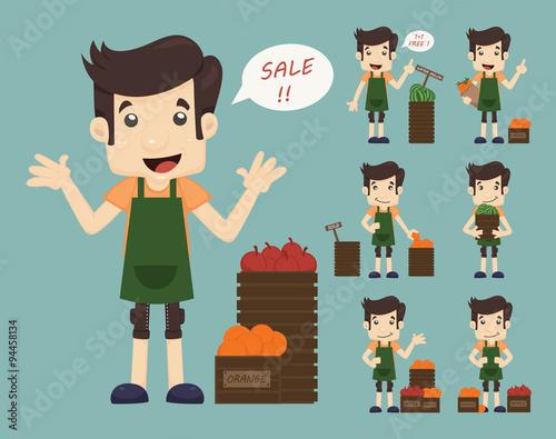 Fotografía  Set of youg merchant , sale man at market shopping store