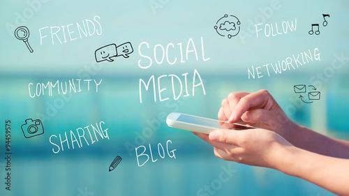 Fotografie, Obraz  Social Media concept with smartphone