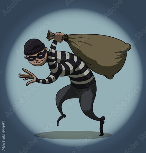 Vector cartoon image of a robber in black pants and a striped jacket with a mask on his face with a sack of loot in his hand on the background of a ball of light on a blue background Fototapeta