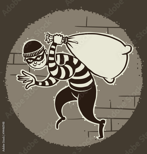 Vector Cartoon Image Of A Robber In Black Pants And Striped Jacket With Mask On His Face Sack Loot Hand The Background