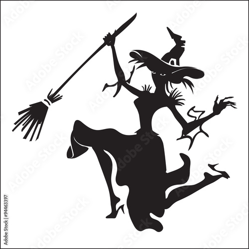 Halloween witch flying on a broomstick vector silhouette template ...