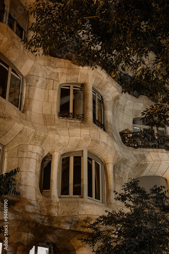 Платно  Architecture details of Casa Mila at night, Barcelona