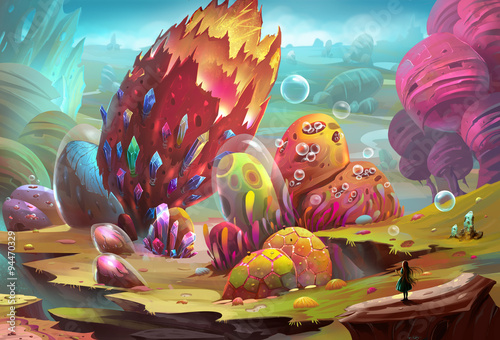 Fotografía  Illustration: Colorful Stone World - The girl arrives at the dream land, but she feels something strange (danger even worse) is waiting