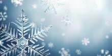 Macro Snowflake And Fallen Defocused Snowflakes