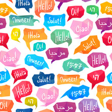 """Seamless Pattern - Speech Bubbles With """"Hello"""" On Different Languages"""