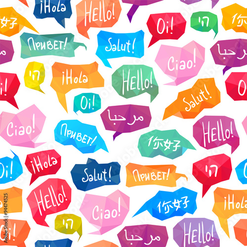 "Fotografía  Seamless pattern - speech bubbles with ""Hello"" on different languages"
