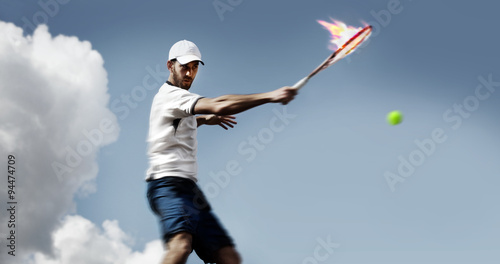 male tennis player in action Wallpaper Mural