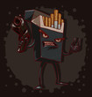 Vector cigarettes kill, black. Cartoon image of a black pack of cigarettes with a face, arms and legs, with a gun in his hand on a dark background. The theme of the fight against smoking.