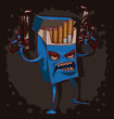 Vector cigarettes kill, blue. Cartoon image of a blue pack of cigarettes with a face, arms and legs, with guns in his hands on a dark background. The theme of the fight against smoking.