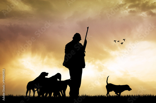 Fotobehang Jacht hunter with dogs at sunset