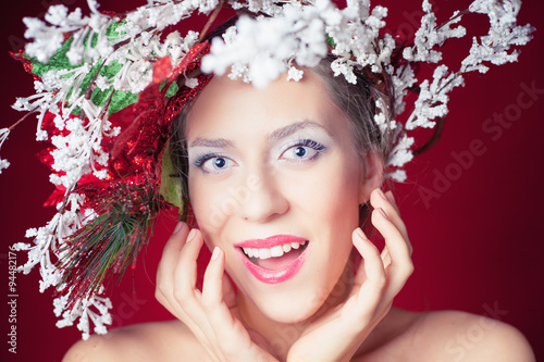 Fototapety, obrazy: Surprised Christmas winter woman with tree hairstyle and makeup