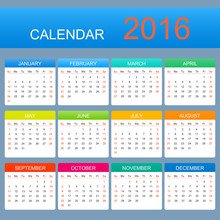 Vector Template Calendar 2016 Years. Week Starts With Sunday