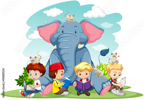 Children and elephant on the lawn