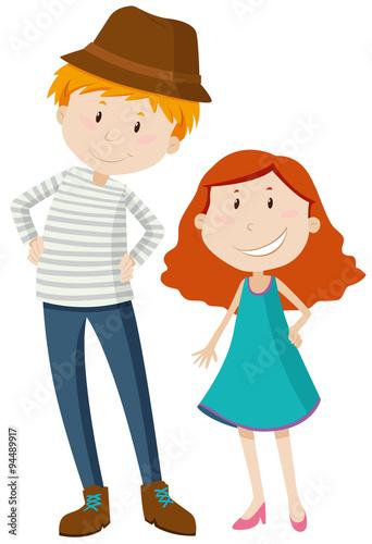 Foto  Tall man and short girl