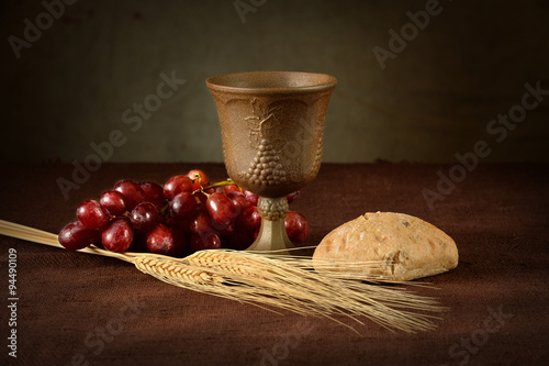 Fotografie, Obraz  Communion Table With Wine Bread Grapes and Wheat