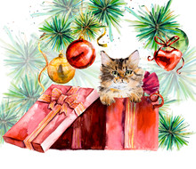Cat. New Year Card. Hand Drawn Watercolor Illustration