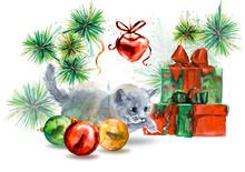 Kitten. New Year Card. Hand Drawn Watercolor Illustration