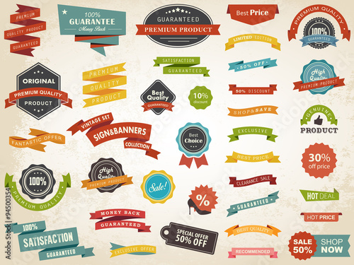 Fotografía  Vintage Label Banner Tag Sticker Badge Vector