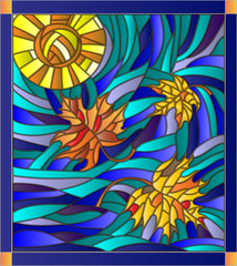 Vector illustration in stained glass style with maple leaves on background of sunny sky