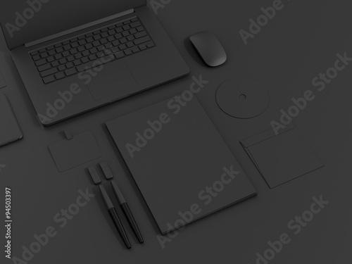 Valokuva  Black Branding Mockup set. Business template