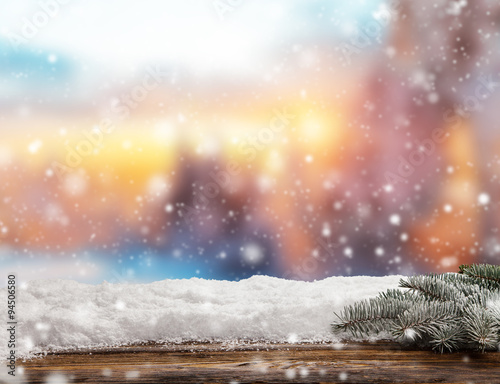Foto op Aluminium Zalm Winter abstract background with wooden planks