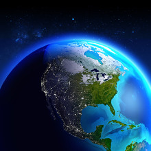 North America Seen From Space / Elements Of This Image Furnished By NASA.
