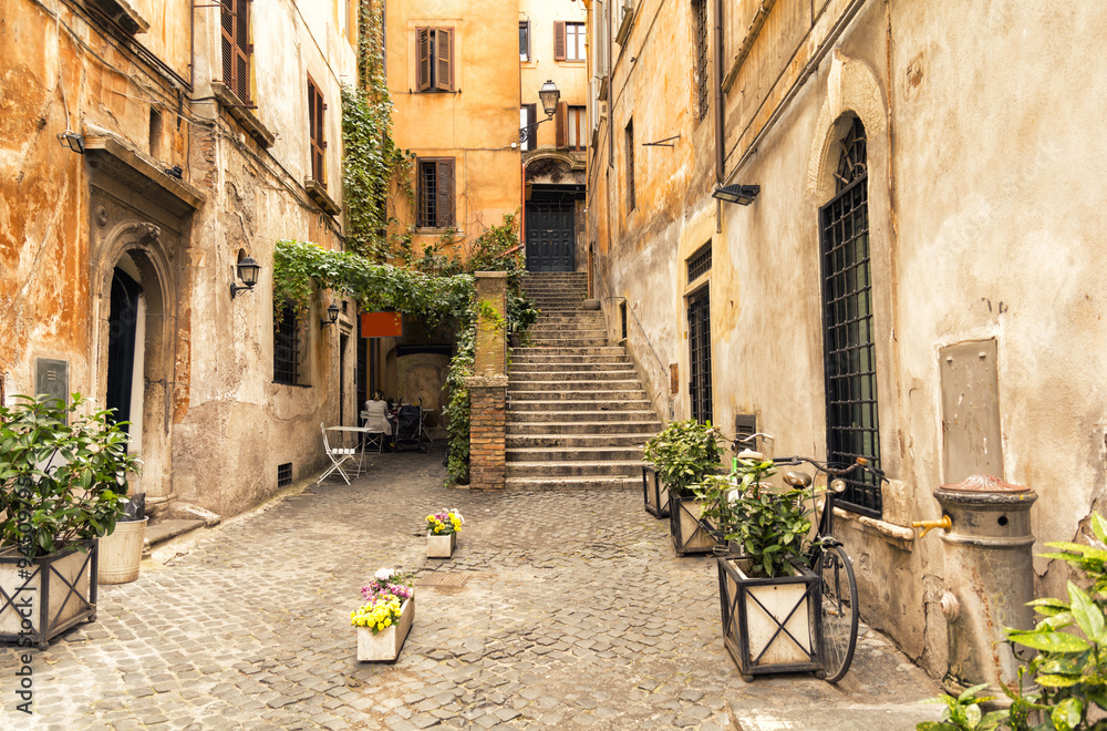 Fototapety, obrazy: romantic alley in old part of Rome, Italy